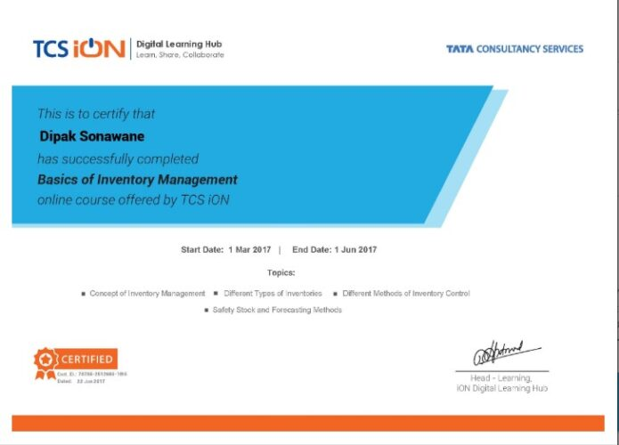 TCS IOn basic of Inventory management